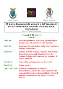 21 Marzo giornata della Memoria e dell'impegno in ricordo delle vittime di tutte le mafie @ Comune di Frascati