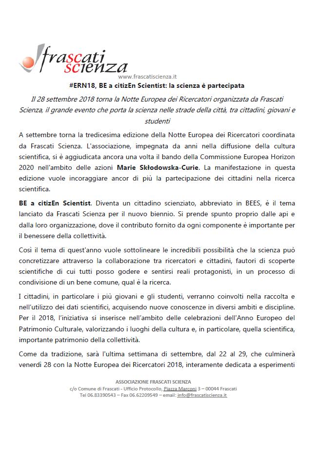 Notte Europea dei Ricercatori 2018 #ERN18, BE a citizEn Scientist: la scienza è partecipata @ Frascati