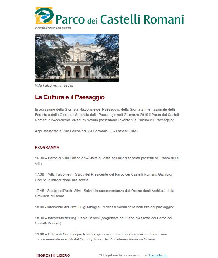 La Cultura e il Paesaggio - Parco dei Castelli Romani @ Villa Falconieri - Frascati