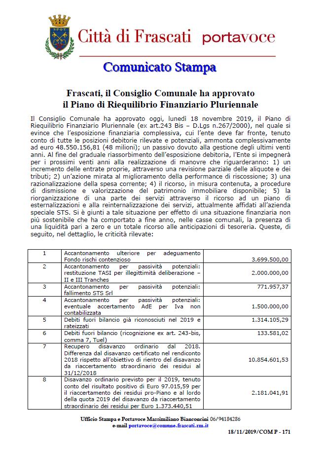 Comunicato stampa Comune di Frascati - Il Consiglio Comunale ha approvato il Piano di Riequilibrio Finanziario Pluriennale