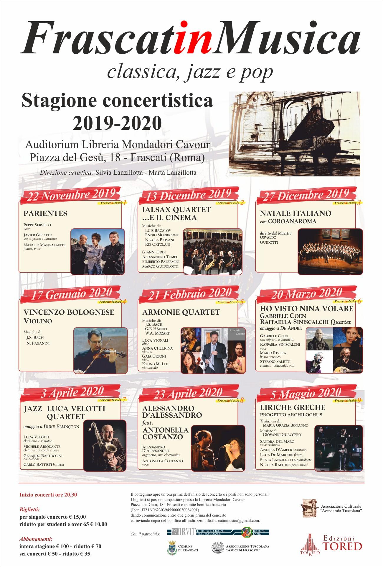 Frascati in Musica - classica, jazz e pop - Stagione concertistica 2019-2020 @ Frascati Auditorium Libreria Mondadori Cavour
