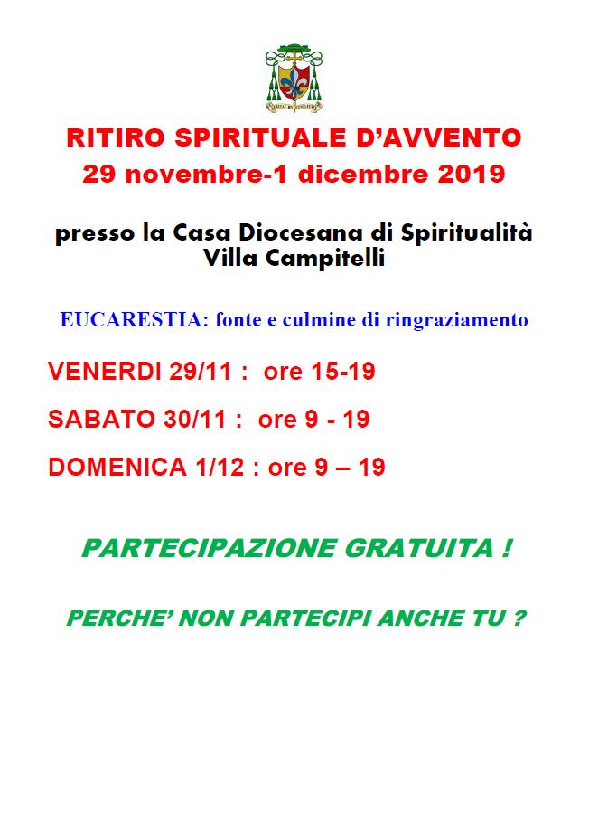 Ritiro Spirituale d'Avvento @ Casa Diocesana di Spiritualità - Villa Campitelli