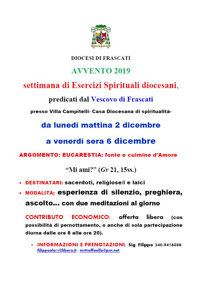 Avvento 2019 - Settimana di esercizi spirituali diocesani @ Villa Campitelli - Casa Diocesana di Spirualità