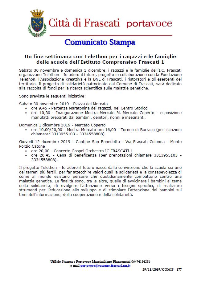 Comunicato stampa Comune di Frascati - Io adoro il futuro - Un fine settimana con Telethon per i ragazzi e le famiglie delle scuole dell'Istituto Comprensivo Frascati 1
