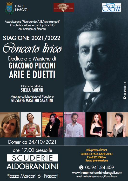 24 Ottobre ore 17.00 – Concerto Lirico dedicato a Giacomo Puccini – Scuderie Aldobrandini